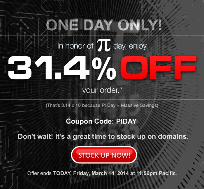 Pi Day - 31.4% off no minimum